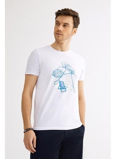 Avva Erkek  Bisiklet Yaka Nakışlı Tişört A01Y1084 Beyaz